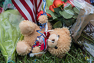 A teddybear at a makeshift memorial for the three officers killed by a lone gunman in Baton Rouge on Airline Hwy.