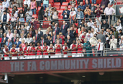 FILE PHOTO: Arsene Wenger is to leave Arsenal at the end of the season, ending a near 22-year reign as manager<br /><br />Arsenal's manager Arsene Wenger, goalkeeper Petr Cech and teammates celebrate winning the Community Shield ... Arsenal v Chelsea - Community Shield - Wembley ... 06-08-2017 ... London ... UK ... Photo credit should read: Barrington Coombs/EMPICS Sport. Unique Reference No. 32309835 ...