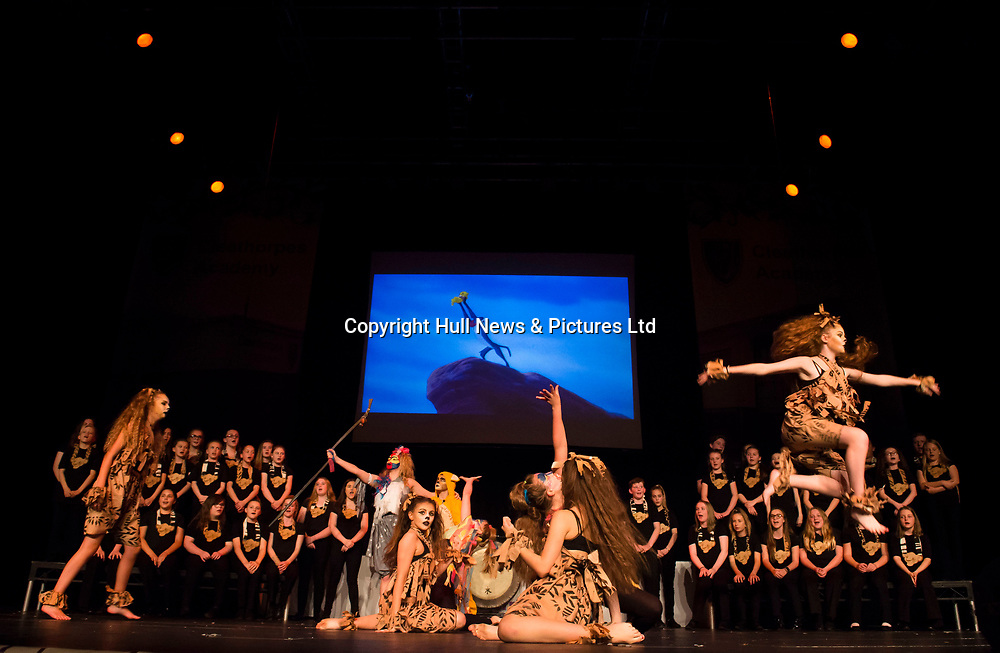 10 October 2017: Cleethorpes Academy Presentation Evening at Grimsby Auditorium. The guest speaker was Aled Jones MBE who presented the awards and also visited the Academy earlier in the day.<br /> Performance of The Lion King.<br /> Picture: Sean Spencer/Hull News & Pictures Ltd<br /> 01482 210267/07976 433960<br /> www.hullnews.co.uk         sean@hullnews.co.uk