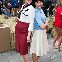 """Natalie Morales as Shirley and Savannah Guthrie as Laverne from the 80's tv show """"Laverne and Shirley"""" during the annual Halloween Episode of NBC's The Today Show in New York City."""