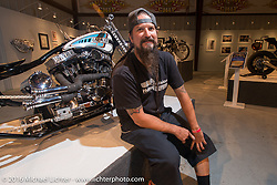 Pat Patterson on the Industry party night for Michael Lichter's tattoo themed Skin & Bones Motorcycles as Art exhibition at the Buffalo Chip during the annual Sturgis Black Hills Motorcycle Rally.  SD, USA.  August 7, 2016.  Photography ©2016 Michael Lichter.