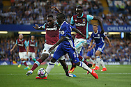 Ngolo Kante of Chelsea is intercepted by Michail Antonio of West Ham United. Premier league match, Chelsea v West Ham United at Stamford Bridge in London on Monday 15th August 2016.<br /> pic by John Patrick Fletcher, Andrew Orchard sports photography.