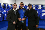 AFC Wimbledon striker James Hanson (18) with Martin Keown and Dion Dublin during the The FA Cup 5th round match between AFC Wimbledon and Millwall at the Cherry Red Records Stadium, Kingston, England on 16 February 2019.