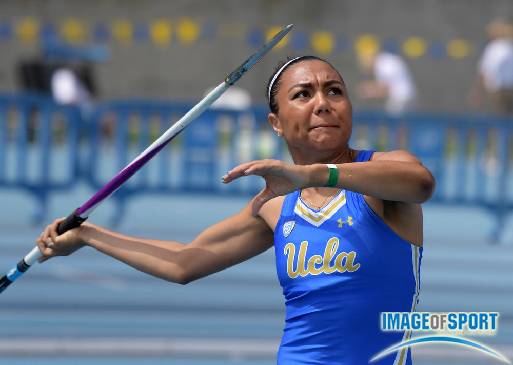 Christina Chenault of UCLA places fourth in the women's javelin at 120-4 (36.68m) during a collegiate dual meet against Southern California at Drake Stadium in Los Angeles, Sunday, April 29, 2018.