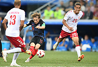 (180701) -- NIZHNY NOVGOROD, July 1, 2018 -- Luka Modric (C) of Croatia shoots during the 2018 FIFA World Cup WM Weltmeisterschaft Fussball round of 16 match between Croatia and Denmark in Nizhny Novgorod, Russia, July 1, 2018. ) (SP)RUSSIA-NIZHNY NOVGOROD-2018 WORLD CUP-ROUND OF 16-CROATIA VS DENMARK DuxYu PUBLICATIONxNOTxINxCHN