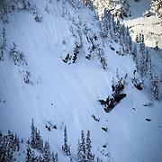 Tyler Hatcher makes turns down the Widow Maker Face near Mount Baker Ski Area.
