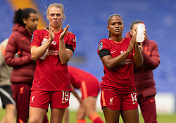BIRKENHEAD, ENGLAND - Sunday, August 29, 2021: Liverpool's Taylor Hinds (R) and Rianna Dean (L) look dejected at full time after the FA Women's Championship game between Liverpool FC Women and London City Lionesses FC at Prenton Park. London City won 1-0. (Pic by Paul Currie/Propaganda)