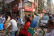 Dhaka, Bangladesh - November 1, 2017: A crowded street intersections full of rickshaws and cars in Old Dhaka, the historic center of Dhaka.