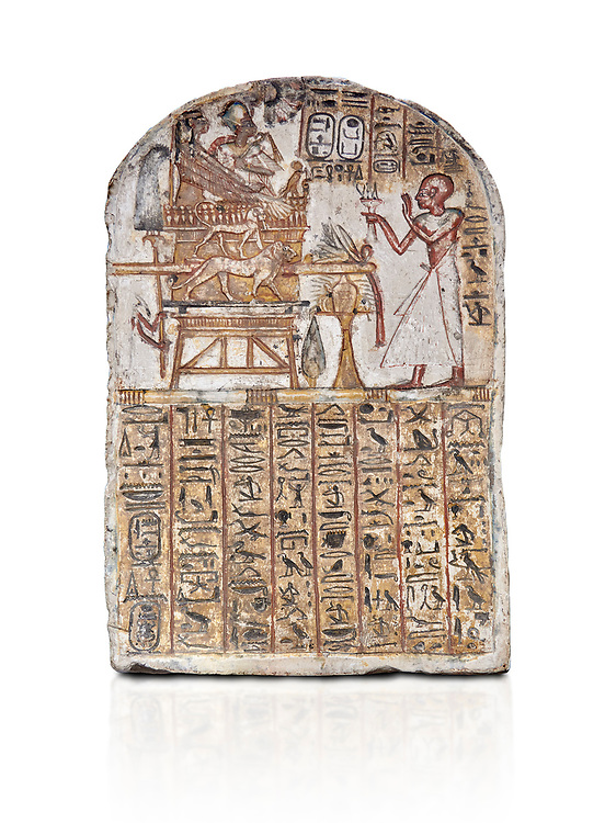 Ancient Egyptian Stele of Amenemope dedicated to Amenhotep I and Ahmose-Nefertari, limestone, New Kingdom, 19th Dynasty, (1279-1213 BC), Deir el-Medina, Drovetti cat 1452. Egyptian Museum, Turin. white background .<br /> <br /> If you prefer to buy from our ALAMY PHOTO LIBRARY  Collection visit : https://www.alamy.com/portfolio/paul-williams-funkystock/ancient-egyptian-art-artefacts.html  . Type -   Turin   - into the LOWER SEARCH WITHIN GALLERY box. Refine search by adding background colour, subject etc<br /> <br /> Visit our ANCIENT WORLD PHOTO COLLECTIONS for more photos to download or buy as wall art prints https://funkystock.photoshelter.com/gallery-collection/Ancient-World-Art-Antiquities-Historic-Sites-Pictures-Images-of/C00006u26yqSkDOM