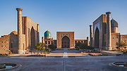 Morning light over the Registan in Samarkand, one of the oldest continuously inhabited cities in Central Asia. At the heart of this ancient Silk Road city there were these three schools / madrasahs - the Ulugh Beg Madrasah (1417–1420), the Tilya-Kori Madrasah (1646–1660) and the Sher-Dor Madrasah (1619–1636)