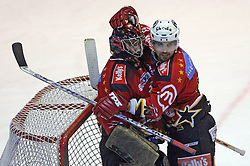 Robert Kristan of Jesenice and Luka Zagar of Jesenice at ice hockey match Acroni Jesencie vs ZM Olimpija in second round of final of Slovenian National Championship,  on April 5, 2008 in Arena Podmezaklja, Jesenice, Slovenia. Acroni Jesenice won the game 6:1 and lead the series 2:0.  (Photo by Vid Ponikvar / Sportal Images)