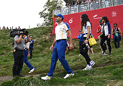 Team Europe's Sergio Garcia looks on at the end of day three of the 43rd Ryder Cup at Whistling Straits, Wisconsin. Picture date: Sunday September 26, 2021.