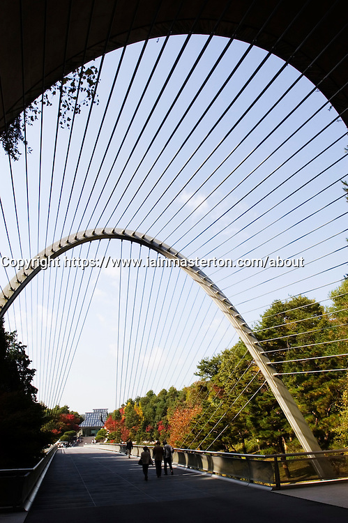 Entrance tunnel and cable-stayed bridge at the modern Miho Museum in Japan
