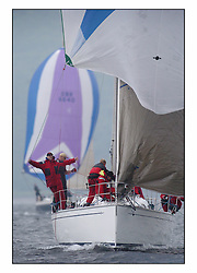 Racing at the Bell Lawrie Yachting Series in Tarbert Loch Fyne. Saturday racing started overcast but lifted throughout the day...John Corson put to work aboard Bavaria 38, 3830C Salamander XVIII in Class two..