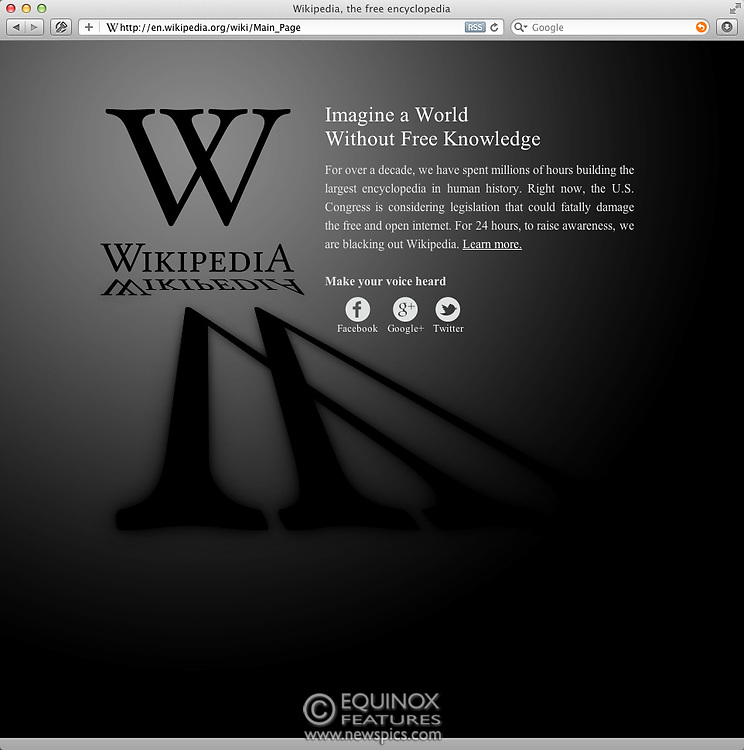 """London, United Kingdom - 18 January 2012.The reference and information website Wikipedia will today display a blacked out web page in place of it's usual english language website. Wikipedia.com decided to go dark for for 24 hours from 05:00 UTC on Wednesday, January 18 2012 as a protest against proposed legislation in the United States, the Stop Online Piracy Act (SOPA) in the U.S. House of Representatives, and the PROTECT IP Act (PIPA) in the U.S. Senate, that they believe if passed would """"seriously damage the free and open Internet, including Wikipedia.""""..Copyright: Supplied by Equinox News Pictures Ltd. +448700 780000 - Contact: Equinox Features - Date Taken: 20120118 - Time Taken: 050049+0000 - www.newspics.com"""