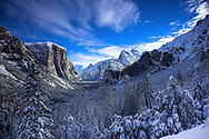 Snow covering Yosemite Valley after winter storm as taken from Tunnel View