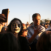 CHARLESTON SC - MARCH 22: Susanna Brylayski takes a selfie with candidate, Beto O'Rourke, as he answers a question from a war veteran at a meet and greet outside of Tradesman Brewing Company in Charleston, SC on March, 22, 2019. (Logan Cyrus for The New York Times)