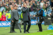 Craig Levein, manager of Heart of Midlothian applauds the Hearts support after the final whistle of the Betfred League Cup semi-final match between Heart of Midlothian FC and Celtic FC at the BT Murrayfield Stadium, Edinburgh, Scotland on 28 October 2018.