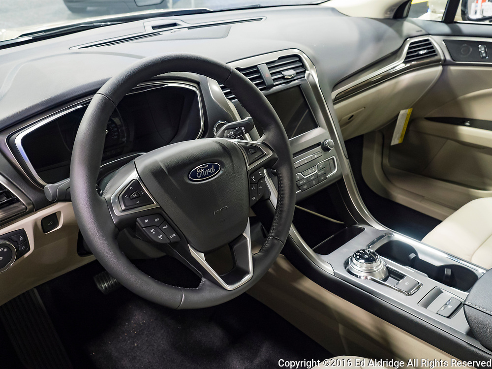 CHARLOTTE, NC, USA - NOVEMBER 17, 2016: Ford Fusion on display during the 2016 Charlotte International Auto Show at the Charlotte Convention Center in downtown Charlotte.