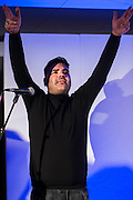 Naughty Boy (pictured) and his team perform a set - UK charity, Sport for Freedom (SFF), marks Anti-Slavery Day 2015 by hosting a charity Gala Dinner, supported by Aston Martin, on Thursday 15th October at Stamford Bridge, home of Chelsea Football Club. This inaugural event brought together people from the world of sport, entertainment, media, and business to unite behind a promise to tackle the issue of modern day human trafficking and slavery.  <br /> Hosted by Sky presenters Sarah-Jane Mee and Jim White, the Sport for Freedom Gala Dinner includes guests such as jockey AP McCoy OBE; Denise Lewis, former British Olympic Gold Medal winner; BBC Strictly star, Brendan Cole; Al Bangura, former Watford FC player and Sport for Freedom Ambassador who was trafficked from Africa to the UK at the age of just 14yrs old; Made in Chelsea star, Ollie Proudlock; ITV weather presenter, Lucy Verasamy; Sky Sports F1 presenter and SFF Ambassador, Natalie Pinkham; Premier League footballers Ryan Bertrand of Southampton FC and Troy Deeney of Watford FC and champion boxer, Anthony Joshua; and The UK's first independent Anti Slavery Commissioner, Kevin Hyland OBE, who highlighted the issues of modern day slavery that face the UK and world today. <br /> The evening concluded with chart topping music from 'Naughty Boy'. <br /> Sport for Freedom are also joining forces with the Premier League Academies for an international  'Football for Freedom' tournament with their U16's players that will also involve educating those taking part about the issues surrounding modern day slavery. The final will take place at Liverpool FC's Academy on Anti-Slavery Day, 18th October.