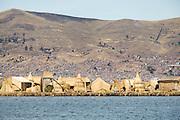 Floating islands on Lake Titicaka, Puno, Peru, South America