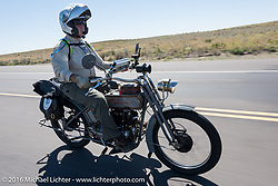 Erik Bahl of Alabama rides his 7 hp 61-cubic inch 1915 Harley-Davidson Model F through the eastern plains of Colorado during the Motorcycle Cannonball Race of the Century. Stage-9 Dodge City, KS to Pueblo, CO. USA. Monday September 19, 2016. Photography ©2016 Michael Lichter.