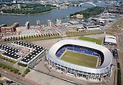 Nederland, Zuid-Holland, Rotterdam, 04-07-2006; Feyenoord Stadion in stadsdeeGroot-IJsselmonde, rivier in de de achtergrond de Nieuwe Maas met (rechtsboven) het eiland  Van Brienenoord en de Van Brienenoordbrug;.Feyenoord Stadium (footbalclub) in the IJsselmonde district, in the background the river Nieuwe Maas, top right the island Brienenoord and the Van Brienenoordbrug (bridge);.luchtfoto (toeslag); aerial photo (additional fee required); .foto Siebe Swart / photo Siebe Swart