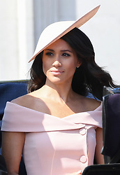 The Duchess of Sussex during the carriage procession along The Mall at Trooping The Colour, London. Photo credit should read: Doug Peters/EMPICS