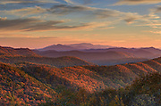 Fall colors cover the Blue Ridge mountains as seen from the Blue Ridge National Park near Nelson County, VA. Photo/Andrew Shurtleff