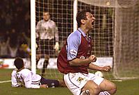 Photo Aidan Ellis.<br />Burnley v Preston North End (Nationwide Div 1).<br />008/045/2003.<br />Burnley's Dimi Papadopoulos celebrates his goal for Burnley.