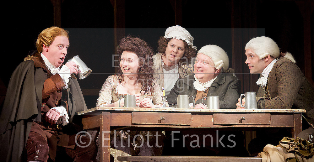 Mr Foote's Other Leg <br /> by Ian Kelly <br /> at Theatre Royal Haymarket, London, Great Britain <br /> press photocall<br /> 30th October 2015 <br /> <br /> <br /> <br /> <br /> Forbes Masson as John Hunter<br /> Dervla Kirwan as Peg Woffington <br /> Jenny Galloway as Mrs Garner <br /> Simon Russell Beale as Samuel Foote<br /> Joseph Millson as David Garrick <br /> <br /> <br /> <br /> Photograph by Elliott Franks <br /> Image licensed to Elliott Franks Photography Services