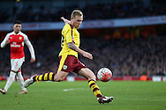 Scott Arfield of Burnley in action. The Emirates FA cup, 4th round match, Arsenal v Burnley at the Emirates Stadium in London on Saturday 30th January 2016.<br /> pic by John Patrick Fletcher, Andrew Orchard sports photography.
