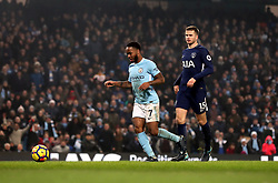 Manchester City's Raheem Sterling scores his side's fourth goal of the game during the Premier League match at the Etihad Stadium, Manchester.