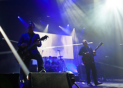 """© Licensed to London News Pictures. 03/05/2012. London, UK. New Order live at O2 Academy Brixton.  They are promoting their 2012 album, """"The Lost Sirens"""".  Photo credit : Richard Isaac/LNP"""