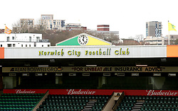 A general view of the club sign at Norwich City's Carrow Road ground ahead of their Sky Bet Championship match against Derby County.