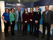 24/11/2019 repro free:<br /> XXX Medtronic and Anne Murray Galway Science  and Technology Festival with Ronan Rogers - Senior R&D Director, Medtronic Niah McCarthy, Aibhe Regan, Samuel Regan from Presentation College Athenry and   Paul Mee, Chairperson, Galway Science and Technology Festival,  at their final day exhibition  at NUI Galway where over 20,000 people attended exhibition stands  from schools to Multinational Companies . Photo:Andrew Downes, xposure