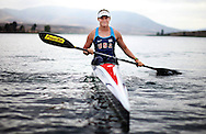 Maggie Hogan of the U.S. Olympic women's kayak team out on Otay Lake during training at the U.S. Olympic Training Center in Chula Vista.  For The Union-Tribune