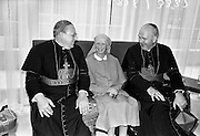 19/07/1967<br /> 07/19/1967<br /> 19 July 1967<br /> Cardinal John Cody of Chicago with American pilgrims in Drogheda. Cardinal Cody led 350 pilgrims to the shrine of Blessed Oliver Plunkett in Drogheda. There in the Cathedral he and His Eminence Cardinal William Conway Archbishop of Armagh and Primate of All Ireland consecrated Mass. After mass the Cardinals and pilgrims went to the Medical Missionaries of Mary Hospital for lunch. <br /> Picture shows (l-r): His Eminence Cardinal John Cody; Mother Mary Martin, Mother General of the Medical Missionaries of Mary and His Eminence Cardinal William Conway.