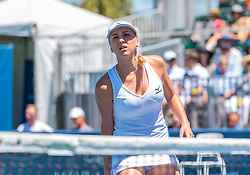 August 5, 2018 - San Jose, CA, U.S. - SAN JOSE, CA - AUGUST 05: Lyudmyla Kichenok (UKR) approaches the net during the WTA Doubles Championship match at the Mubadala Silicon Valley Classic on the San Jose State University Stadium Court in San Jose, CA  on Sunday, August 5, 2018. (Photo by Douglas Stringer/Icon Sportswire) (Credit Image: © Douglas Stringer/Icon SMI via ZUMA Press)