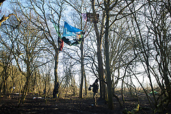 Harefield, UK. 21 January, 2020. An activist on the ground offers a bowl of porridge to an activist sitting in a net suspended between trees at the Save the Colne Valley wildlife protection camp. Activists seeking to protect ancient woodland threatened by the HS2 high-speed rail link continue to occupy both the roadside and woodland sites of the camp having retaken it from bailiffs acting on behalf of HS2 on 18th January. 108 ancient woodlands are set to be destroyed by HS2.