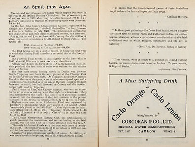All Ireland Senior Hurling Championship Final,.Programme,.04.09.1955, 09.04.1955, 4th September 1955,.Galway 2-8, Wexford 3-13,.Minor Galway v Tipperary, .Senior Galway v Wexford,.Croke Park,..Articles, An bFuil Fios Agat,..Advertisements, Carlo Orange or Carlo Lemon Corcoran & Co. Ltd. Mineral Water Manufacturers,