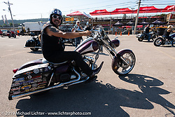 Bean're, aka Kevin Doebler or the Mayor of Fun<br /> leaving on Aidan's Ride from the Iron Horse Saloon during the Sturgis Black Hills Motorcycle Rally. Sturgis, SD, USA. Tuesday, August 6, 2019. Photography ©2019 Michael Lichter.