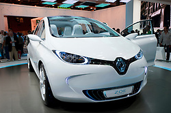 Electric Renault Zoe car on display at Paris Motor Show 2010