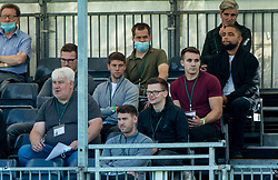 LIVERPOOL, ENGLAND - Wednesday, September 15, 2021: The Anfield Wrap reporters Josh Sexton and Craig Hannon witj Liverpool press officer Andy Kelly during the UEFA Youth League Group B Matchday 1 game between Liverpool FC Under19's and AC Milan Under 19's at the Liverpool Academy. Liverpool won 1-0. (Pic by David Rawcliffe/Propaganda)