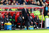 Stoke City Manager Mark Hughes looks on from the technical area. Premier league match, Stoke City v Leicester City at the Bet365 Stadium in Stoke on Trent, Staffs on Saturday 4th November 2017.<br /> pic by Chris Stading, Andrew Orchard sports photography.