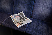 The day after the government introduced a third Coronavirus pandemic national lockdown, effectively a Tier 5 restriction, a copy of the Metro newspaper lies on a train cariage seat as the capital experiences a grim post-Christmas and millions of Britons are told to stay at home, on 5th January 2021, in London, England.