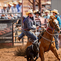 Tie down roper Owen Wahlert leaps from the saddle as his rope lands on the calf during the Best of the Best rodeo Friday at Red Rock Park in Gallup.