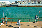 Israel, Tel Aviv, Fishermen at the old Tel Aviv port