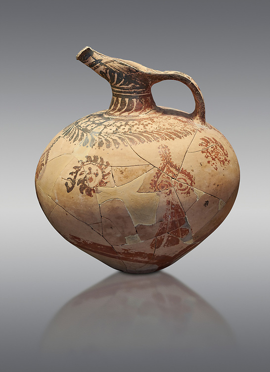 Mycenaean clay jug with ornate decoration of vegetal motifs, Tholos tomb 2 , Myrsinochori, Messenia, 15th cent BC. National Archaeological Museum Athens. Cat No 8375. Grey Background .<br /> <br /> If you prefer to buy from our ALAMY PHOTO LIBRARY  Collection visit : https://www.alamy.com/portfolio/paul-williams-funkystock/mycenaean-art-artefacts.html . Type -   Athens    - into the LOWER SEARCH WITHIN GALLERY box. Refine search by adding background colour, place, museum etc<br /> <br /> Visit our MYCENAEN ART PHOTO COLLECTIONS for more photos to download  as wall art prints https://funkystock.photoshelter.com/gallery-collection/Pictures-Images-of-Ancient-Mycenaean-Art-Artefacts-Archaeology-Sites/C0000xRC5WLQcbhQ