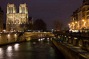 Cathedral Notre Dame de Paris on Île de la Cité by  the river Seine, Paris, France